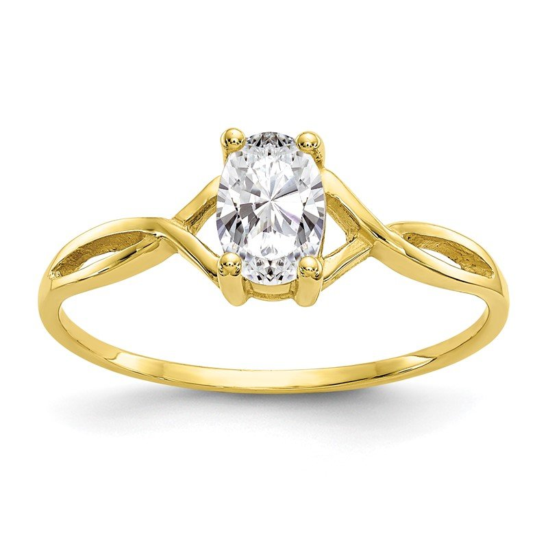 Quality Gold 10k Polished Geniune White Topaz Birthstone Ring