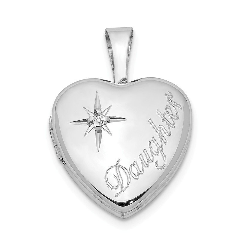 Quality Gold Sterling Silver Rhodium-plated & Diamond Daughter 12mm Heart Locket