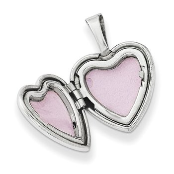 Sterling Silver Rhodium-plated & Diamond Daughter 12mm Heart Locket