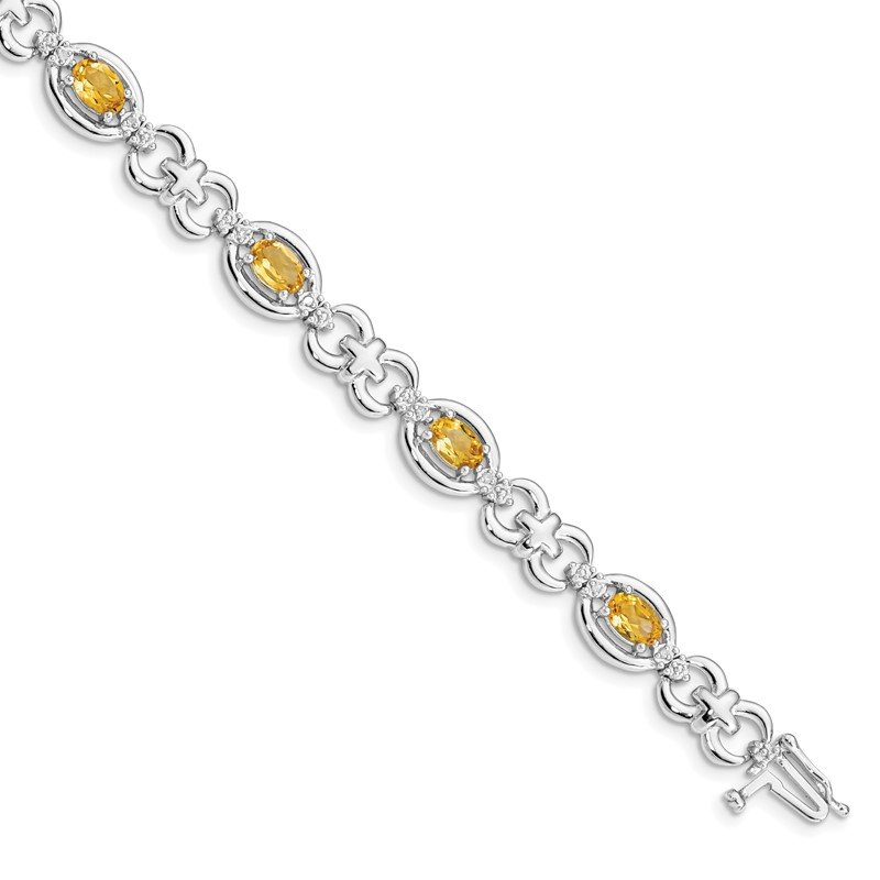 Quality Gold Sterling Silver Rhodium-plated Diamond & Citrine Bracelet