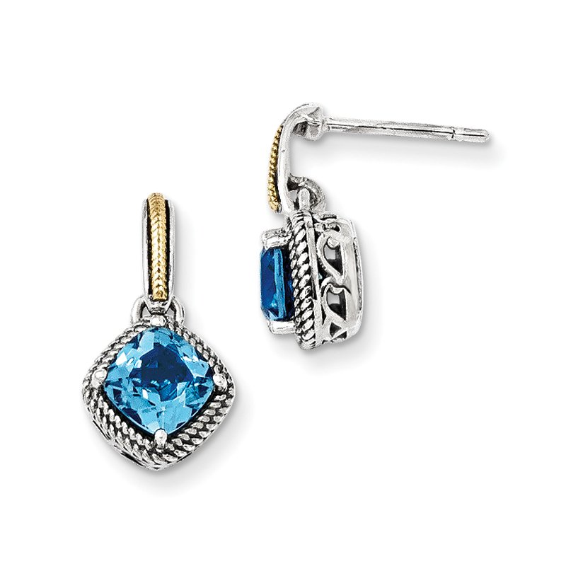 Shey Couture Sterling Silver w/14k Antiqued Light Swiss Blue Topaz Post Earrings
