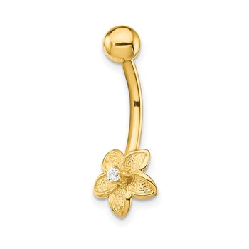 14k CZ Flower Belly Ring