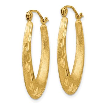 14K Satin Diamond Cut Hollow Hoop Earrings