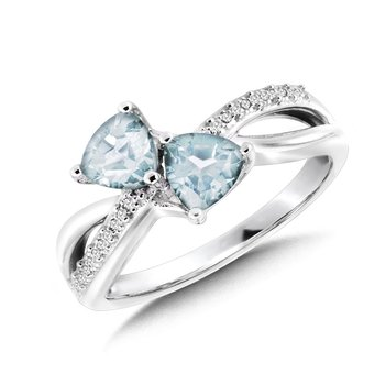 Trillion-Cut  Aquamarine and Diamond Criss-Cross Ring