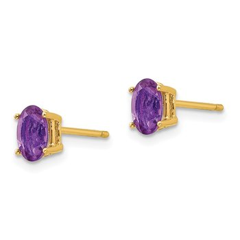 14k 6x4mm Oval Amethyst Earrings