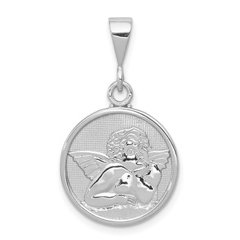 14K White Gold Polished and Satin Angel Pendant