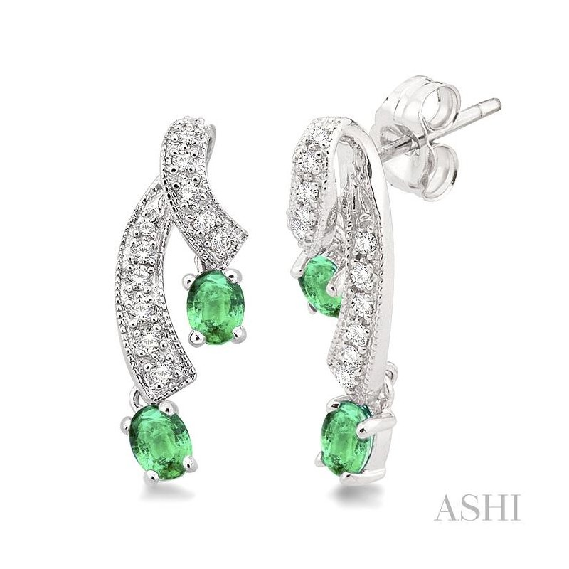 Gemstone Collection oval shape gemstone & diamond earrings