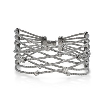Grey Cable Constellation Bracelet with 18kt White Gold & Diamonds