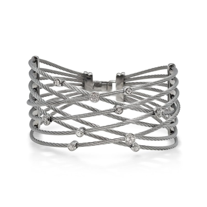 ALOR Grey Cable Constellation Bracelet with 18kt White Gold & Diamonds