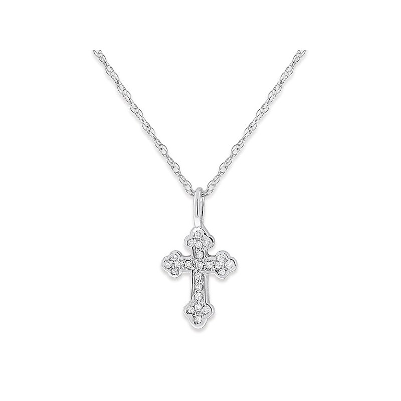 KC Designs Diamond Baby Cross Necklace in 14k White Gold with 23 Diamonds weighing .08ct tw.