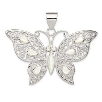 Sterling Silver Filigree Fancy Mother of Pearl Butterfly Pendant