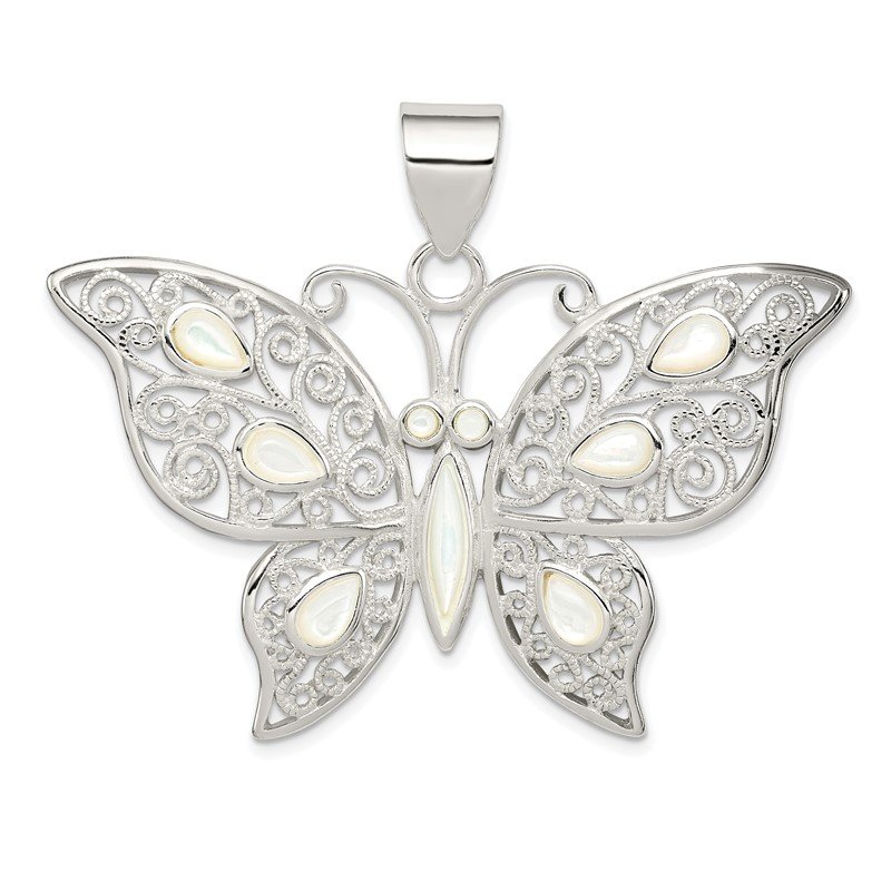 Quality Gold Sterling Silver Filigree Fancy Mother of Pearl Butterfly Pendant