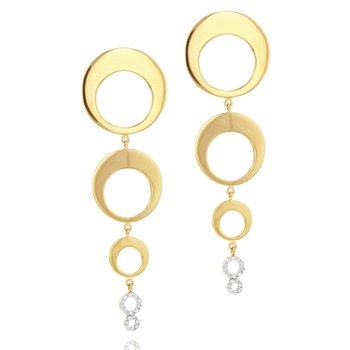 Yellow gold diamond Affair graduated crescent drop earrings