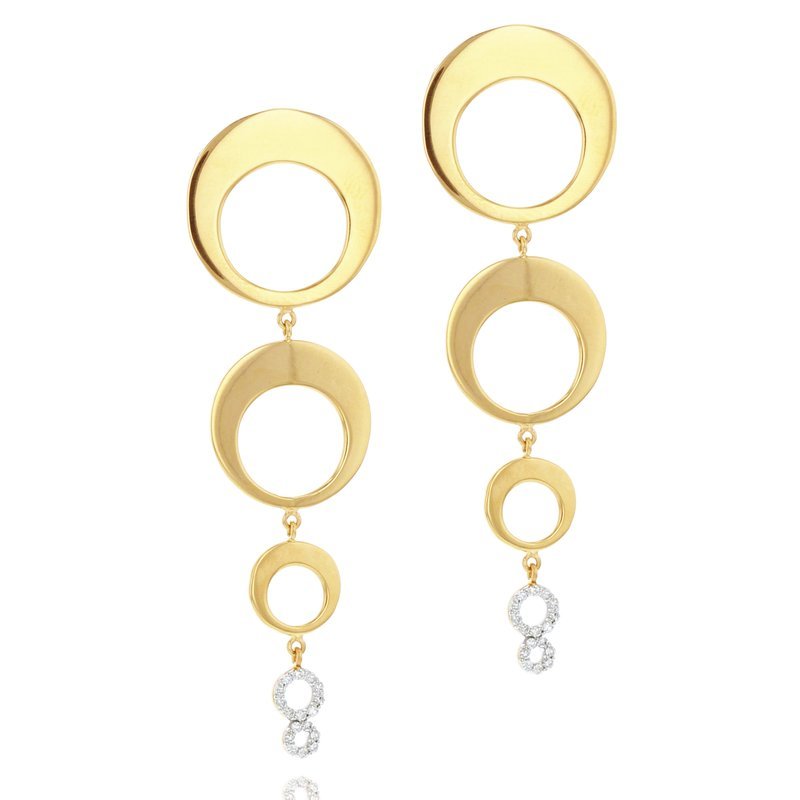 Phillips House Yellow gold diamond Affair graduated crescent drop earrings