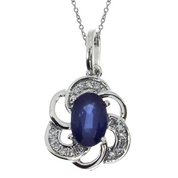 14k White Gold Sapphire Oval Pendant