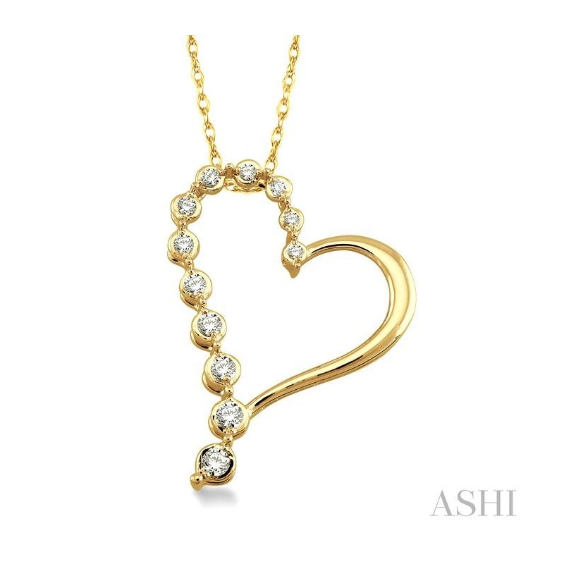 ASHI half journey diamond heart shape pendant
