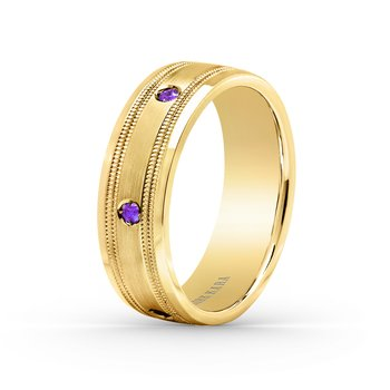 Amethyst Mens Wedding Milgrain Band 7mm