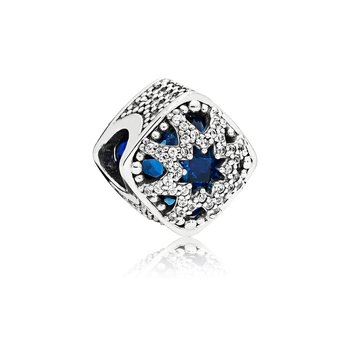 Glacial Beauty Charm, Swiss Blue Crystals Clear Cz