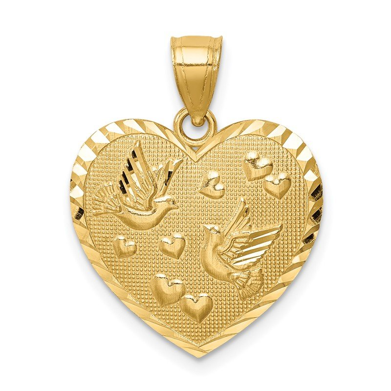 Quality Gold 14K Heart w/Doves & Hearts D/C Textured Pendant