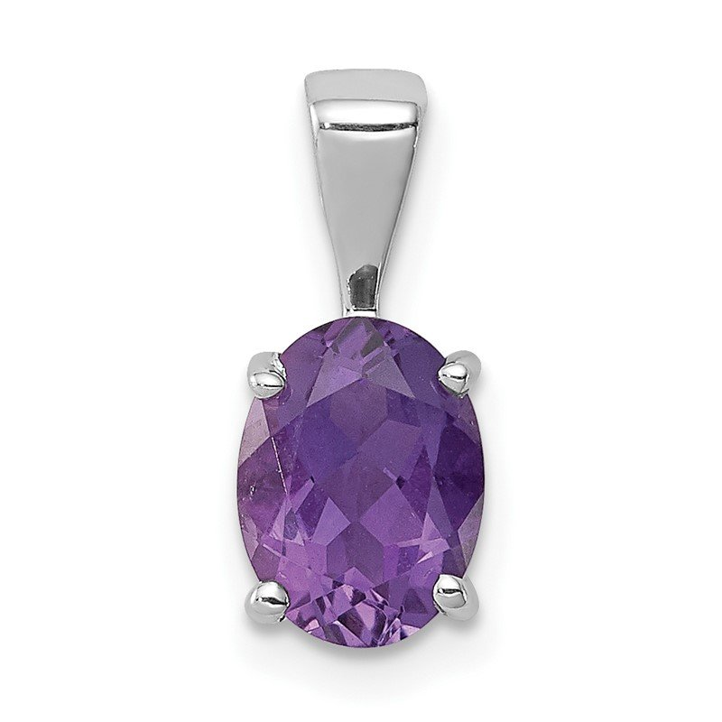 Quality Gold Sterling Silver Rhodium Amethyst Pendant