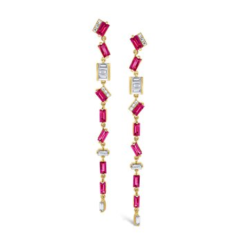 Ruby & Diamond <i>Modern</i> <b>Stiletto</b> Earrings Set in 14 Kt. Gold