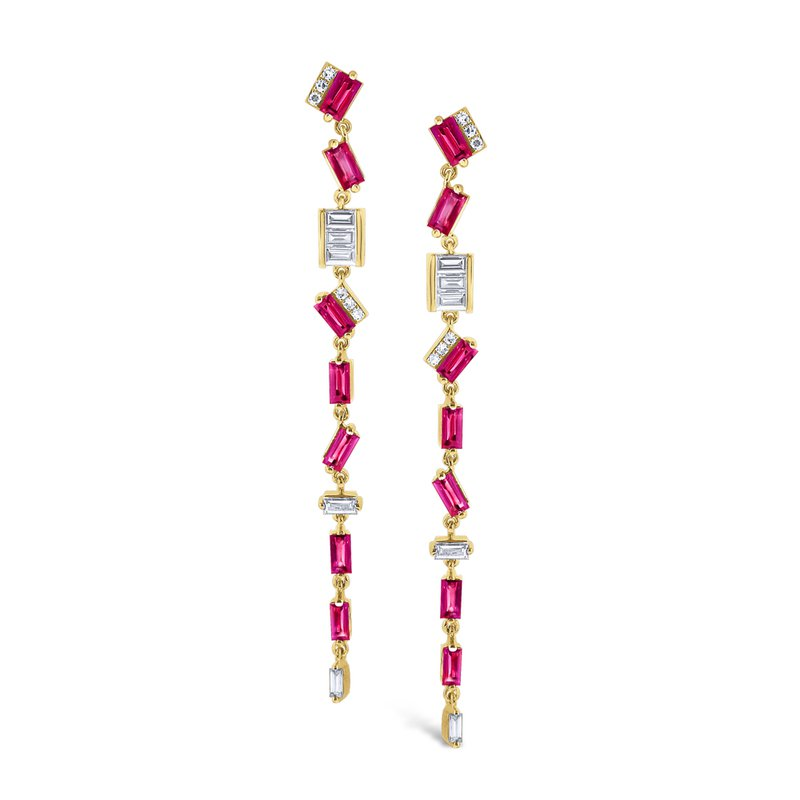 KC Designs Ruby & Diamond <i>Modern</i> <b>Stiletto</b> Earrings Set in 14 Kt. Gold