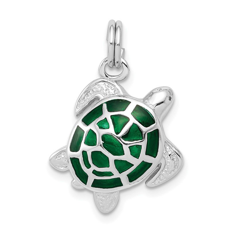 Quality Gold Sterling Silver Rhodium-platedGreen Enamel Turtle Charm