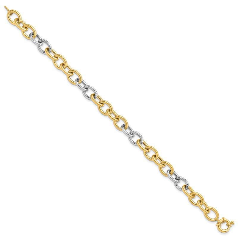 Leslie's Leslie's 14K Two-tone Polished & Textured Fancy Link Bracelet