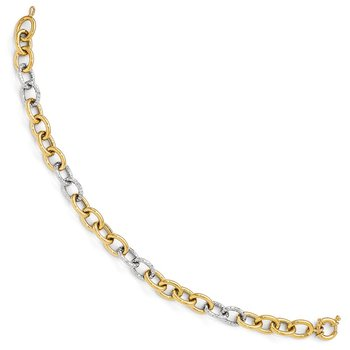 Leslie's 14K Two-tone Polished & Textured Fancy Link Bracelet