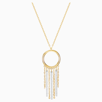 Lyrebird Circle Necklace, White, Mixed plating