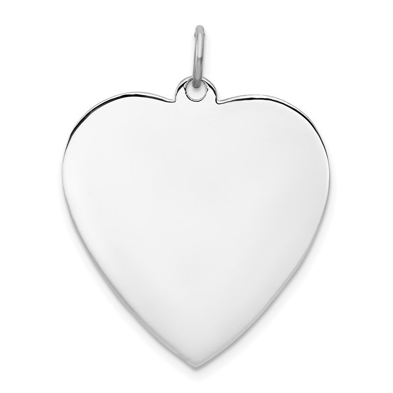 Quality Gold Sterling Silver Rhod-plated Eng. Heart Polish Front/Satin Back Disc Charm