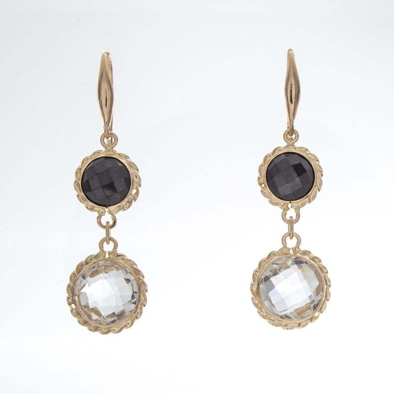 William Levine BLACK SPINEL/WHITE TOPAZ EARRINGS