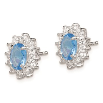 Sterling Silver Rhodium plated Light Blue and Clear CZ Earrings
