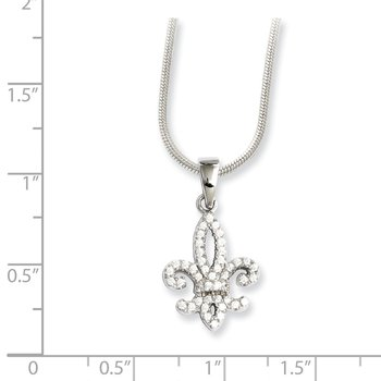 Sterling Silver Brilliant Embers Rhodium-plated CZ Fleur De Lis Necklace