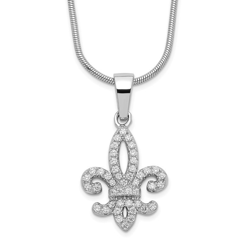 Quality Gold Sterling Silver Brilliant Embers Rhodium-plated CZ Fleur De Lis Necklace