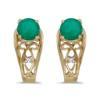 10k Yellow Gold Round Emerald And Diamond Earrings
