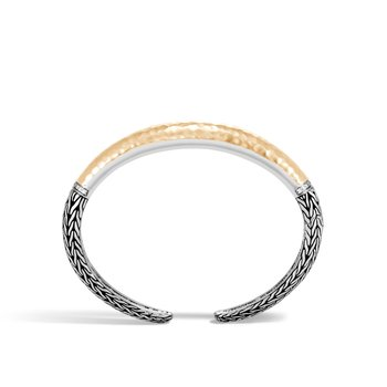 Classic Chain 12MM Kick Cuff, Silver, Hammered 18K Gold, Dia