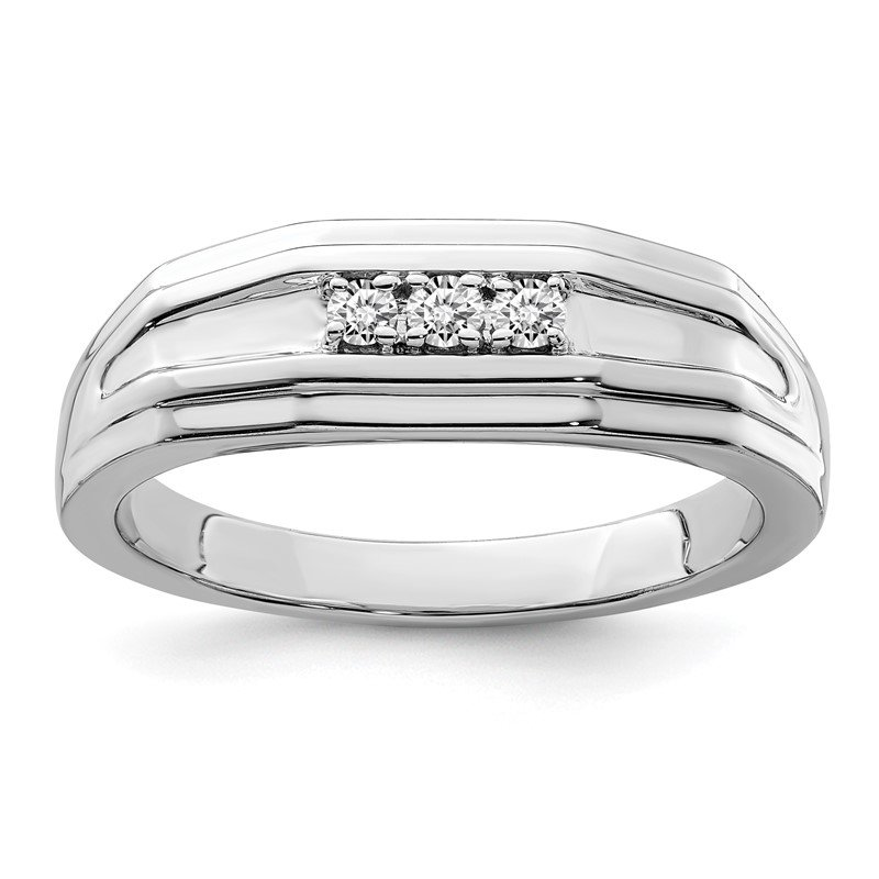 Arizona Diamond Center Collection Sterling Silver Rhodium Plated Diamond Men's Ring