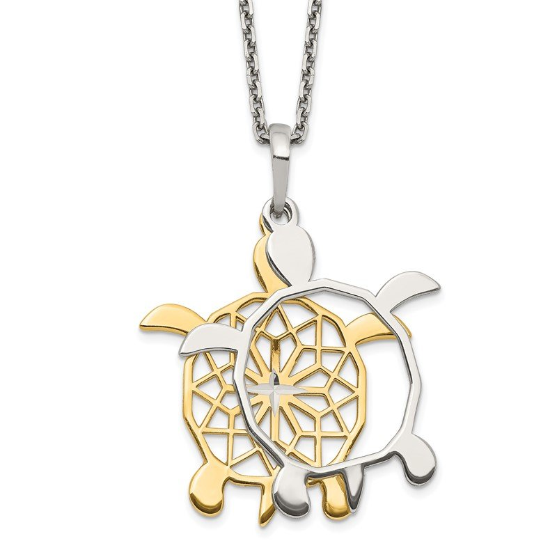 Quality Gold Sterling Silver Gold-tone Diamond-cut Turtle w/ 2in ext. Necklace