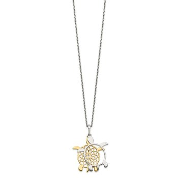 Sterling Silver Gold-tone Diamond-cut Turtle w/ 2in ext. Necklace