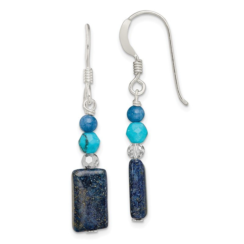 Quality Gold SS Crystal/Iolite/Lapis/Bl.Quartz/Recon.Bl. Magnesite Dangle Earrings