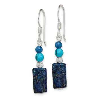 SS Crystal/Iolite/Lapis/Bl.Quartz/Recon.Bl. Magnesite Dangle Earrings