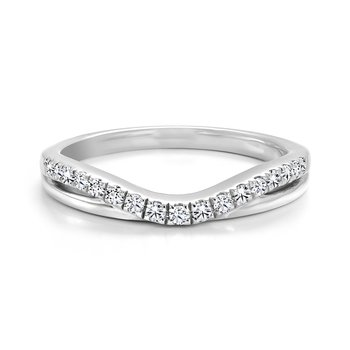 Curved and Layered Diamond Wedding Band