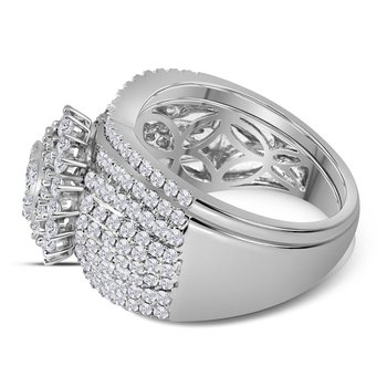 14kt White Gold Womens Round Diamond Cluster Bridal Wedding Engagement Ring Band Set 2.00 Cttw