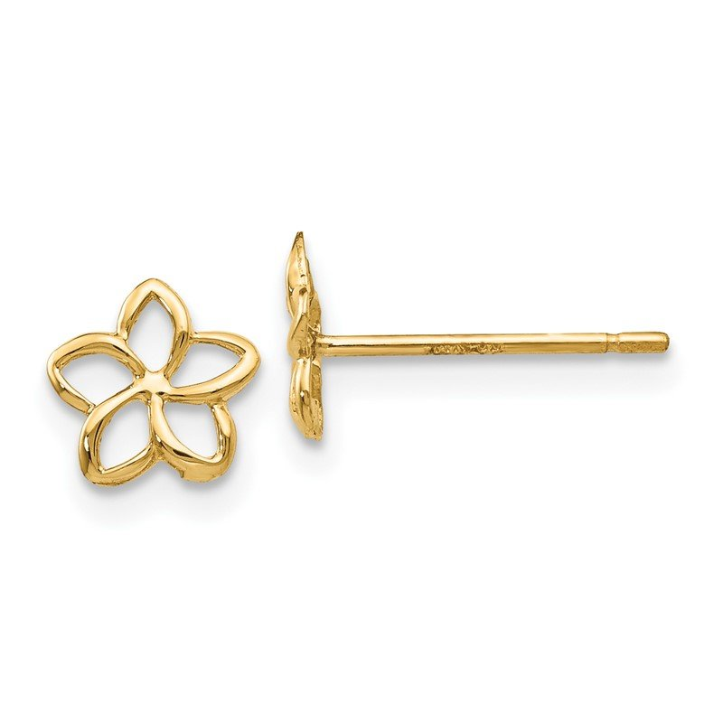 Quality Gold 14k Plumeria Post Earrings