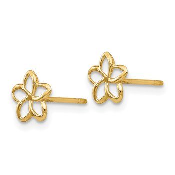 14k Plumeria Post Earrings