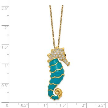Cheryl M Sterling Silver Gold-plated Enameled CZ Seahorse 18in Necklace