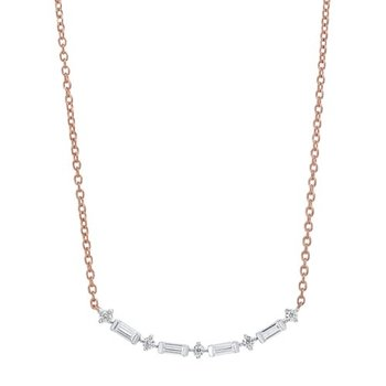 Diamond Curved Bar Link Necklace in Gold (¼ carat)