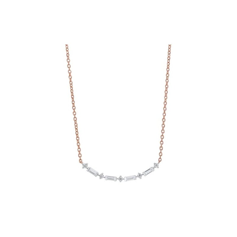 Gems One Diamond Curved Bar Link Necklace in Gold (¼ carat)