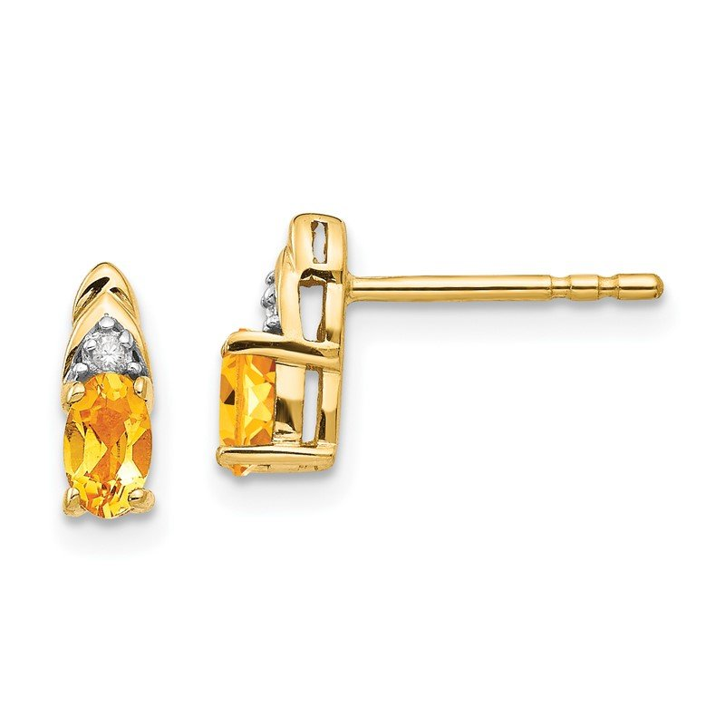 Quality Gold 14k Citrine and Diamond Earrings
